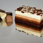 TREI CIOCOLATE<br>blat crema ciocolata neagra, ciocolata cu lapte, ciocolata alba